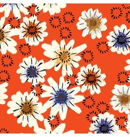 Alexia Abegg Moonrise Cotton Lightweight Jersey, Posy in Red A4071-017, Fabric Half-Yards
