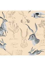 PD's Rae Ritchie Collection Natural History, Rabbit Study in Parchment, Dinner Napkin