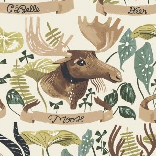 PD's Rae Ritchie Collection Natural History, Horned Beasts in Gardenia, Dinner Napkin