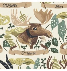 Rae Ritchie Natural History, Horned Beasts in Gardenia, Fabric Half-Yards STELLA-SRR1082
