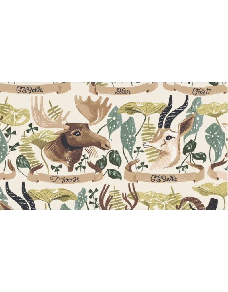 Rae Ritchie ON SALE-Natural History, Horned Beasts in Gardenia, Fabric full-Yards STELLA-SRR1082