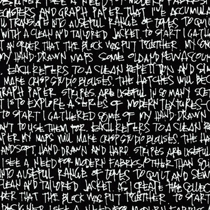 Robert Kaufman Architextures Wide, Scribble Notes in Black, Fabric Half-Yards AFRX-18144-2
