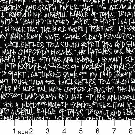 Robert Kaufman Architextures Wide, Scribble Notes in Black, Fabric Half-Yards AFRX-18144-2