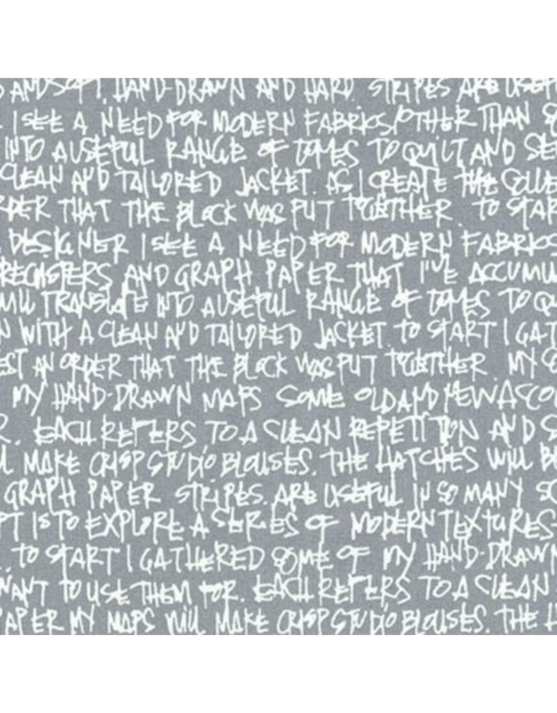 Robert Kaufman Architextures Wideback, Scribble Notes in Pewter, Fabric Half-Yards AFRX-18144-183
