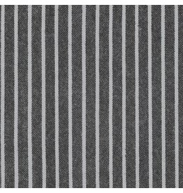 Robert Kaufman Yarn Dyed Cotton Flannel, Tamarack Stripes Flannel in Black, Fabric Half-Yards SRKF-18221-2