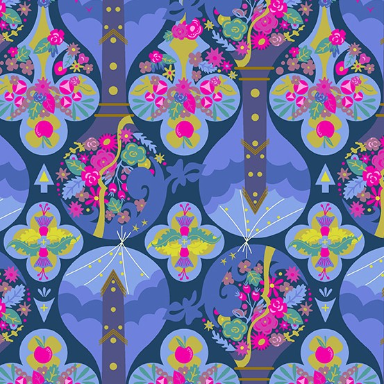 Alison Glass Road Trip, Treehouse in Night, Fabric Half-Yards A-8899-B