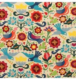 Alexander Henry Fabrics Folklorico, La Paloma in Tea, Fabric Half-Yards 7593B