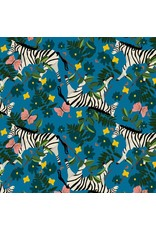 Elizabeth Grubaugh Into the Wild, Plains Zebra in Cobalt, Fabric Half-Yards 126.104.02.1