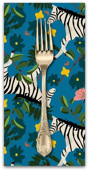 PD's Blend Fabrics Collection Into the Wild, Plains Zebra in Cobalt, Dinner Napkin