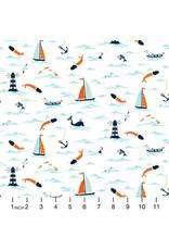 Dear Stella I Don't Give a Ship! in White, Fabric Half-Yards STELLA-1102