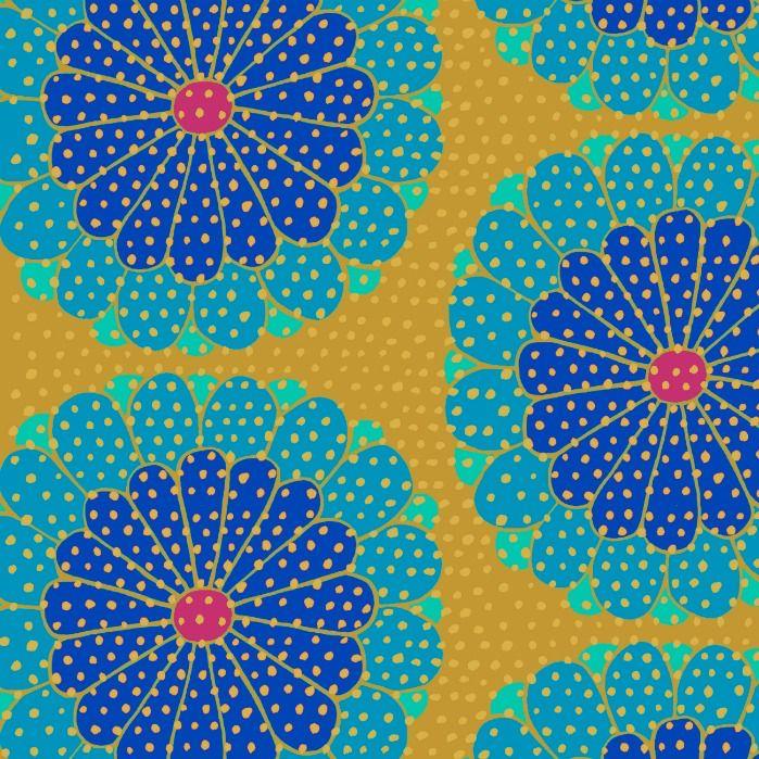 Kaffe Fassett Artisan, Kyoto in Blue, Fabric Half-Yards PWKF008