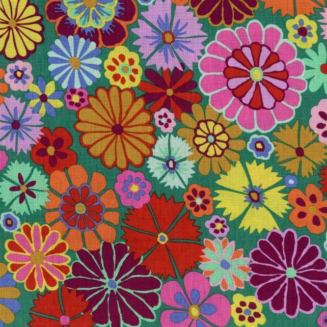 Kaffe Fassett Artisan, Folk Flower in Multi, Fabric Half-Yards PWKF007