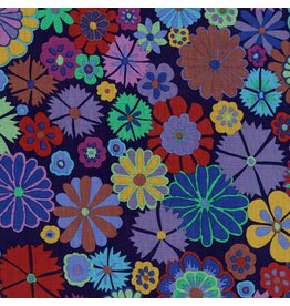 Kaffe Fassett Artisan, Folk Flower in Purple, Fabric Half-Yards PWKF007