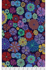 Kaffe Fassett Artisan, Folk Flower in Purple, Fabric Half-Yards PWKF007