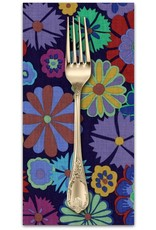 PD's Kaffe Fassett Collection Artisan, Folk Flower in Purple, Dinner Napkin