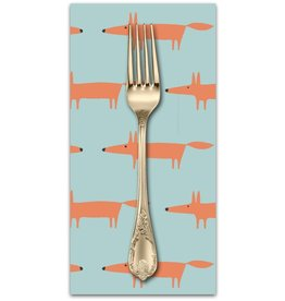 PD'S Free Spirit Collection Dakarai, Mr Fox in Aqua, Dinner Napkin