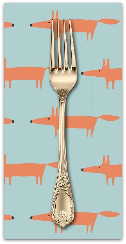 PD'S Free Spirit Collection Dakarai, Mr Fox in Aqua, Dinner Napkin