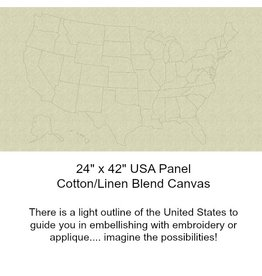 """Andover Fabrics Quilter's Canvas, Road Trip USA Map, Linen with Applique Lines, 24"""" Fabric Panel"""