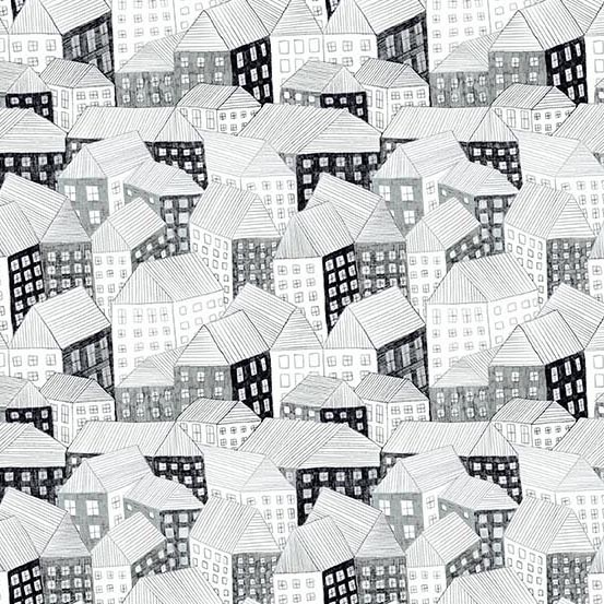 Sarah Golden Around Town, Abodes in Film Noir, Fabric Half-Yards A-8761-AK