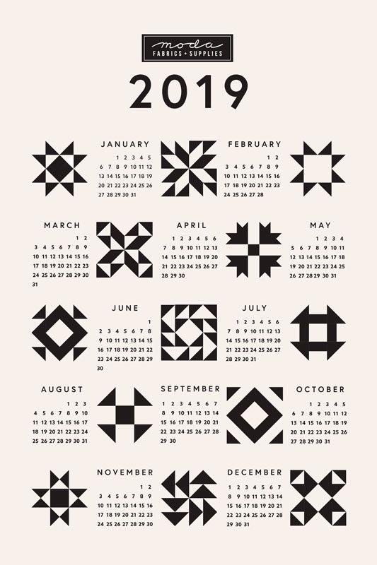 ON SALE 60% OFF - 2019 Calendar Quilt Block Tea Towel