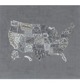"Moda Metropolis USA Map Panel in Primer, 24"" x 22"" Fabric Panel"