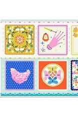 """Cotton + Steel Beauty Shop, Hankie in Blue C6000-01, 24"""" Fabric Panel"""