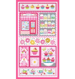 "Studio E Cupcake Cafe, Panel in Pink, 24"" Fabric Panel"