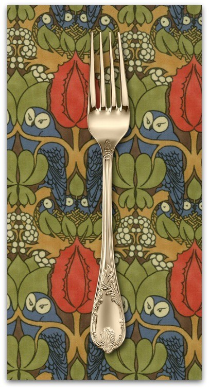 PD's Voysey Collection Voysey, The Owl 1897 in Indigo, Dinner Napkin