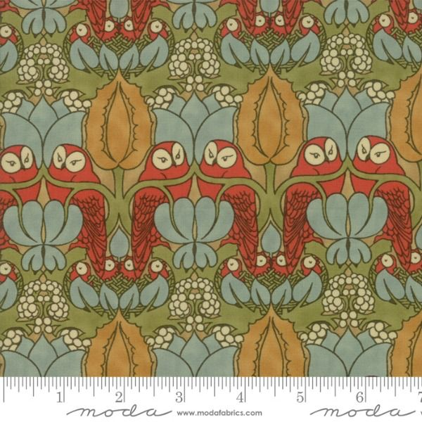 PD's Voysey Collection Voysey, The Owl 1897 in Russet, Dinner Napkin