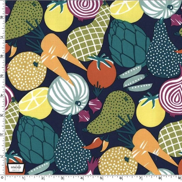 Michael Miller On The Chopping Block, Vegetables in Jewel, Fabric Half-Yards CX8250