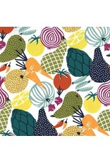 Michael Miller On The Chopping Block, Vegetables in Multi on White, Fabric Half-Yards CX8250