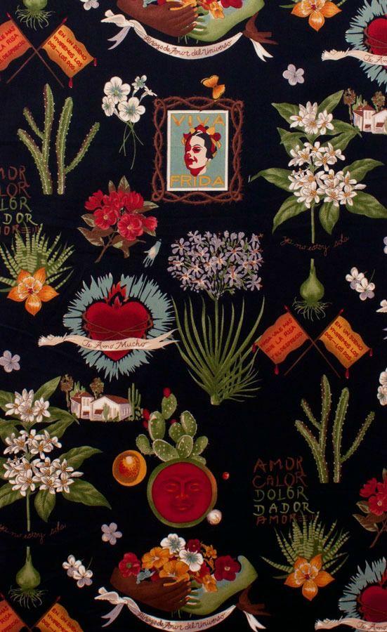 PD's Alexander Henry Collection Folklorico, Viva Frida in Black, Dinner Napkin