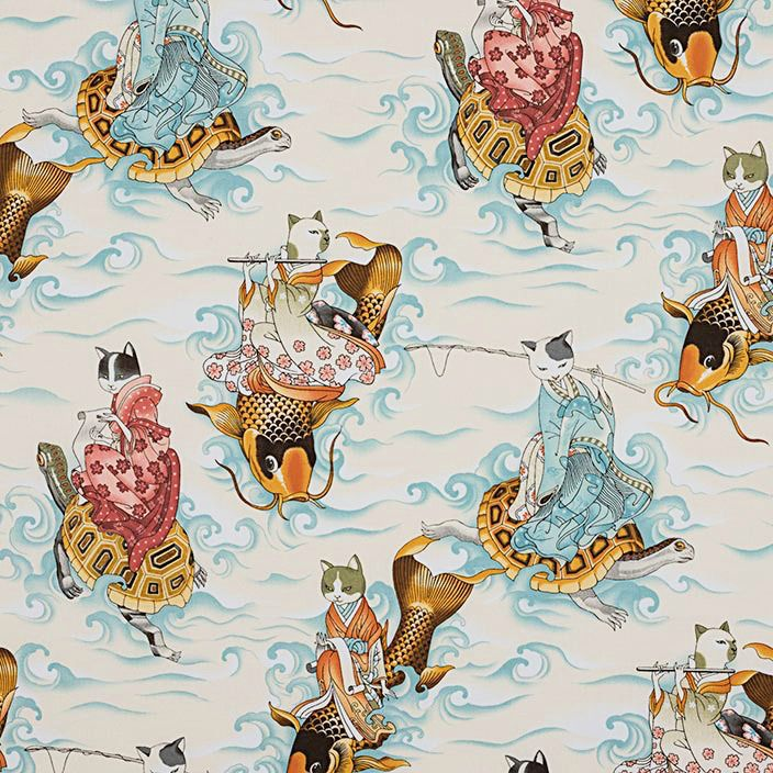 Alexander Henry Fabrics Nicole's Prints, Feline Fishermen in Tea, Fabric Half-Yards 8643A