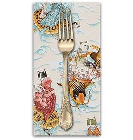PD's Alexander Henry Collection Nicole's Prints, Feline Fishermen in Tea, Dinner Napkin
