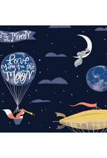 Rae Ritchie Love You to the Moon, Night Sky in Navy, Fabric Half-Yards STELLA-SRR1129