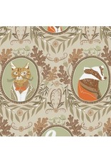 Rae Ritchie Black Forest, Fancy Animals in Wheat, Fabric Half-Yards STELLA-SRR1156