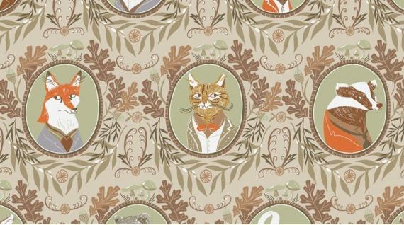 Rae Ritchie Black Forest, Fancy Animals in Wheat, Fabric Half-Yards STELLA-SRR1156