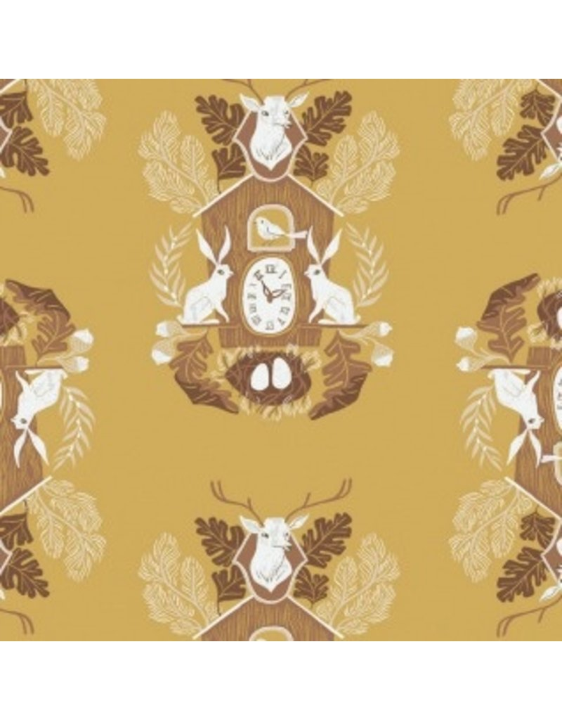 Rae Ritchie ON SALE-Black Forest, Cuckoo Clocks in Curry, Fabric full-Yards STELLA-SRR1157