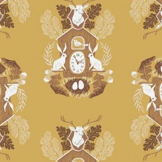 Rae Ritchie Black Forest, Cuckoo Clocks in Curry, Fabric Half-Yards STELLA-SRR1157