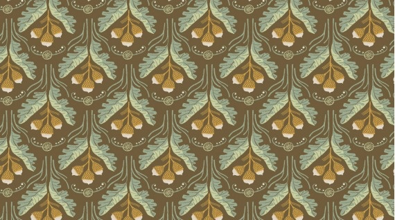 Rae Ritchie Black Forest, Acorns in Toffee, Fabric Half-Yards STELLA-SRR1162