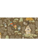 Rae Ritchie Black Forest, Dancing Cats in Toffee, Fabric Half-Yards STELLA-SRR1155