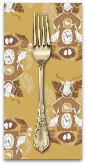 PD's Rae Ritchie Collection Black Forest, Cuckoo Clocks in Curry, Dinner Napkin