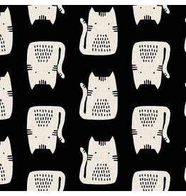Sarah Golden Cats and Dogs, Cats in Black, Fabric Half-Yards A-8966-K