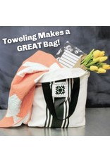 """Moda Woven Toweling, 16"""" wide, Urban Cottage Grey with Ivory Stripe, by the yard"""