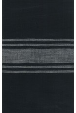 "Urban Chiks Woven Toweling, 16"" wide, Urban Cottage Black with Grey Stripe, Sold by the Yard"