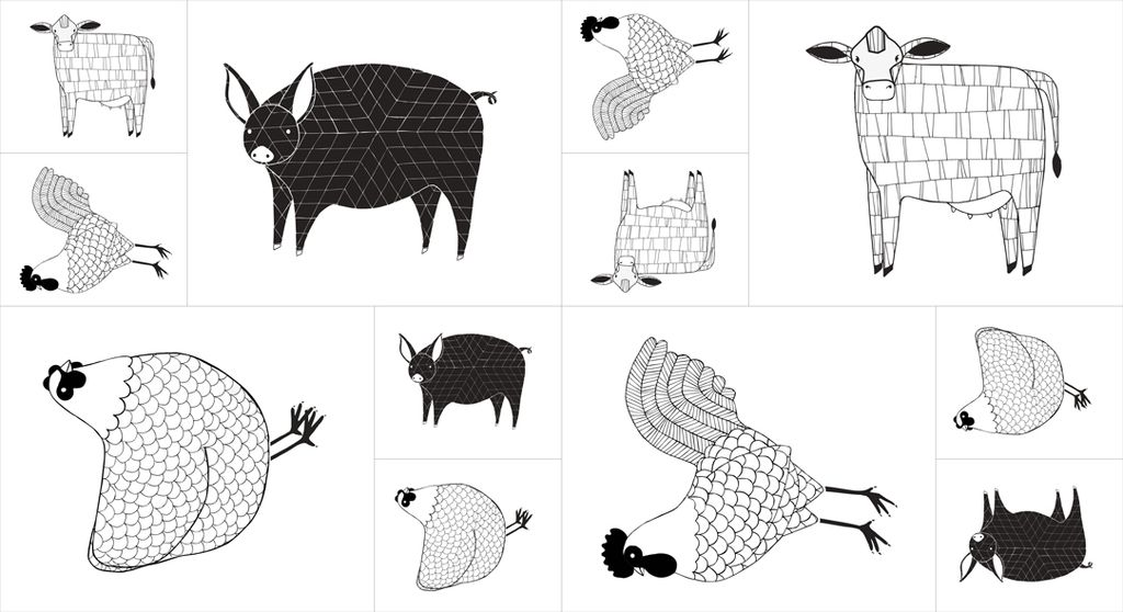 "Gingiber Farm Fresh, Panel in Black and White, 24"" Fabric Panel 48260 12"