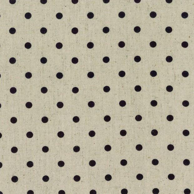 PD's Linen Blend Collection Mochi Homegrown Black Dot on Natural Linen, Dinner Napkin