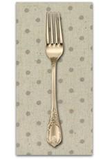 PD's Linen Blend Collection Mochi Homegrown Putty Dot on Natural Linen, Dinner Napkin