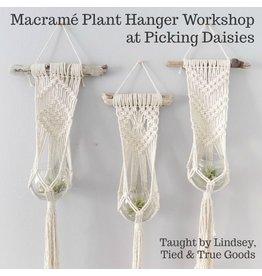 Lindsey of Tied & True Goods, Instructor 04/13/19: Macrame and Driftwood Plant Hanger Workshop