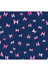 Cotton + Steel Once Upon a Time, Cotton Lightweight Jersey Knit, Flying Ribbon in Navy OE104-NA5K, Fabric Half-Yards